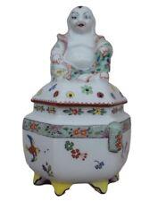 French Antique Chantilly Porcelain Buddha Figure Brûle-parfum Kakiemon Décor