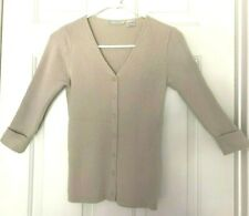 LA REDOUTE V-Neck Cable Sweater Cardigan Top, 3/4 Sleeve Sand Taupe, Org.$39