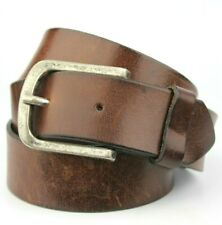 Black Real Leather Soft buffalo Style Gilt Buckle Belt 38mm Hand Made Uk xl C8