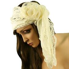 3D Rufflle Floral Lace Light Sheer Long Summer Scarf Headwrap Hip Wrap Ivory