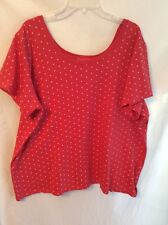 Woman Within 3X Short Sleeve Coral/White Polka Dot Top