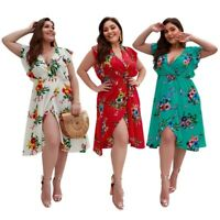 Plus Size Bohemian Floral Print Dress Women Summer V Neck Sleeveless Dress S5M2