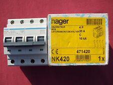 Réf NK420 OU NKN420 DISJONCTEUR HAGER 4P 20A 10/15kA COURBE C 230;400V NEUF