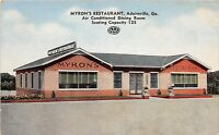 D92/ Adairsville Georgia Ga Postcard Linen Roadside Myron's Restaurant
