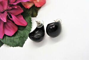 Cool! CHICO'S Silvertone & Black Enamel Pierced Scoop Earrings!