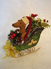 Dachshund Red Brown Felt Sculpture in Metal Sleigh Centerpiece Christmas Table