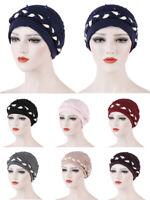 Women Beads Turban Hat Muslim Chemo Cancer Hair Loss Cap Cover Islamic Headscarf