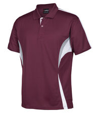 F-111 short sleeve light weight polo shirt - maroon/white/grey with pocket