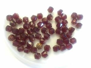 Vintage Czech Royalty Red w Copper Tip Faceted Cathedral Window Glass Bead Lot