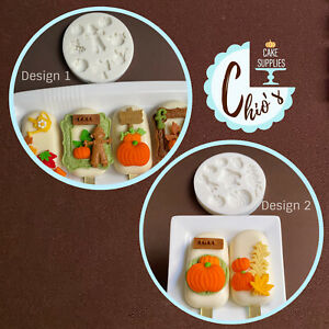 Autumn /fall Themed silicone molds. Pumpkins, scarecrow, watering can, apple.