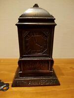 "ANTIQUE METAL RUSTIC COPPER ""BANK BUILDING"" 50 YR -1903-1953 Coin Bank W/ KEY"