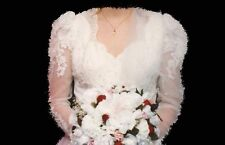 Wedding Gown Traditional Satin Princess Waist Pearl Beads Sequins Lace 6 Petite