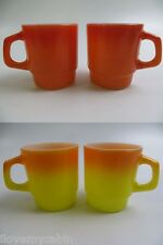 Set of 4 Stacking Mug Orange Yellow Excellent Vtg Anchor Hocking Fire King Mugs