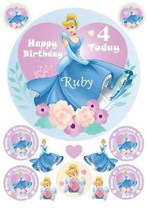 Edible CINDERELLA Girls Disney Princess Personalised Cake Cupcake Toppers Icing