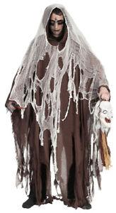Halloween Umhang mit Kapuze - Braun - Ghoul Dämon Kostüm Verkleidung Cape