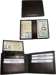 Lot of 2 New Men's Soft Leather Brown billfold Wallet 9 Credit ATM Card 2 ID New