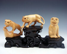 3 Japanese Boxwood Hand Carved *Tigers* Netsuke w/ Wooden Stand #06241605