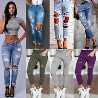 Women's Casual Denim Jogger Pants High Waist Ripped Jeans Solid Pencil Trousers
