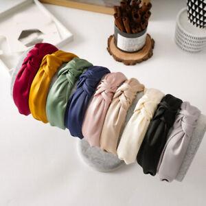 Women Satin Headband Cross Knot Head Hoop Girls Solid Color Wide Side Hair Hoop