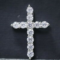 1Ct Round White Cut Moissanite Cross Necklace Women Wedding 14K White Gold