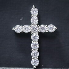 Moissanite Cross Pendant Necklace Women Wedding Anniversary Birthday Jewelry