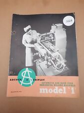 ADCOCK & SHIPLEY MODEL '1' HOROZONTAL MILLING MACHINE INFORMATION CATALOGUE
