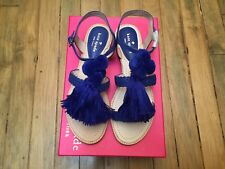 KATE SPADE NY SUNSET FLAT SANDALS WITH TASSEL AND POM POM NEW SIZE 7 $158.00