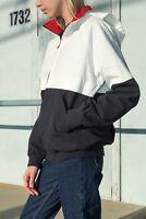 brandy melville navy/white zip up Lucy Hoodie windbreaker jacket NWT sz S/M