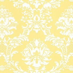 Floral Damask Wallpaper SD25650 yellow solid vinyl scrubbable prepasted