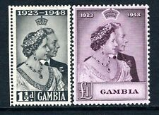 More details for gambia kgvi  1948 silver wedding set sg164-65 lm/mint