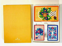 Vintage Hallmark Bridge Playing Card Set 2 Decks  Score Card Box Flowers Sealed