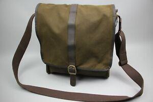 Barbour Green Wax Cotton Trim Brown Leather Messenger Crossbody Mens bag  Sz M