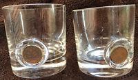 Reine Sammelgläser -beschädigt 2x Likörglas kleines Trinkglas mit Münzen Pfennig