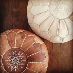 Set of 2 Moroccan leather handmade pouf,ottoman,footstool,authentic genuine pouf