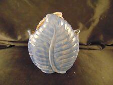 """Vintage Stangl blue vase leaf design art deco style #3442 6"""" high pot nature art"""