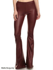 S M L Women's Premium Faux Leather Pants Flare Leg Stretch Mid-Rise Long Pull On