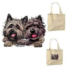 Cairn Terrier Dog Buddies Pair Cartoon Artist Canvas Market Grocery Tote Bag