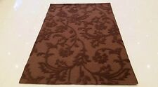 INDIAN HAND TUFTED, MODERN 100% WOOL RUG, 2.44 x 1.52M, BROWN, FLORAL