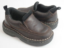 Cherokee Shoes Toddler Boys Size 6.5 Brown Leather Slip On Loafer Dress Shoes