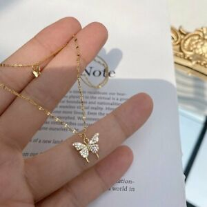 Charm 925 Silver Double Butterfly Zircon Necklace Clavicle Women Jewelry Gifts