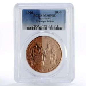 Sahrawi 100 pesetas Transportation Camel Man Desert MS69 PCGS copper coin 1990