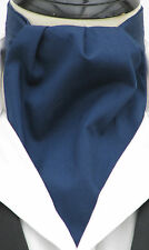 Mens Plain Navy Blue 100% Cotton Ascot Cravat & Pocket Square - Made in UK