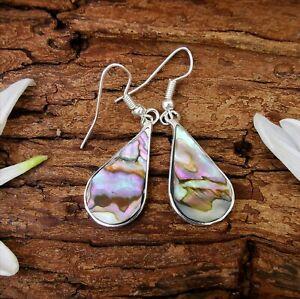Teardrop Earrings Paua Abalone Shell Silver Mexican Jewellery 4.5 cm Drop