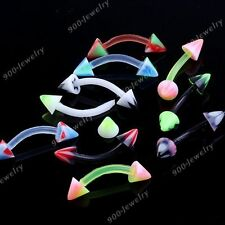 10x Punk Mixed UV Taper Spike Rivet 16g Curved Barbell Eyebrow Ring Piercing