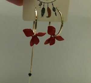 Elegant Red Petal Hoop Earrings