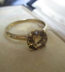 Beautiful QVC 9ct yellow gold golden brown stone ring 375 Hallmarked