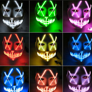 LED Purge Mask Glow in Dark Wire Light-up Scary Rave Fancy Cosplay Party Props