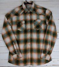 DIESEL Men's Western Pearl Snap green/orange Plaid Western Long Sleeve Shirt XL
