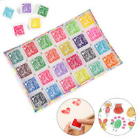 Set of 24 Colors Rubber Stamps Pigment Ink Pads For Paper Wood Fabric Craft UK