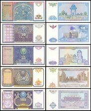 Uzbekistan 5,10,25,50,100 Sum Set, 1994, P-75T79, UNC, Full Set